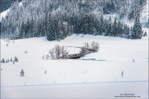Winter mountain landscape in the Alps. The winding river, trees and mountains covered with snow.
